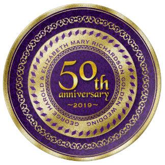Golden Wedding Anniversary Gold Glitter Purple Porcelain Plates