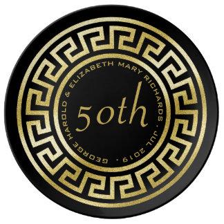 Golden Wedding Anniversary Greek Key Art Deco Porcelain Plates