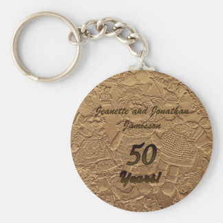 Golden Wedding Anniversary Key Chain Dolls Basic Round Button Keychain