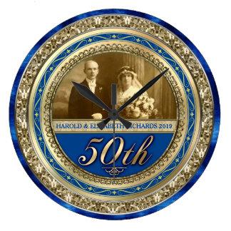 Golden Wedding Anniversary Photo Gold Royal Blue Large Clock