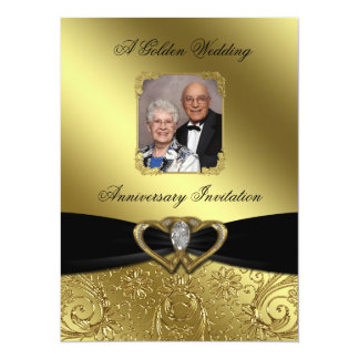 Golden Wedding Anniversary Photo Invitation Card