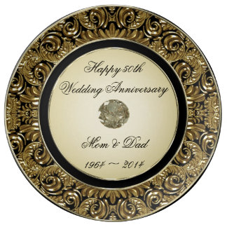 Golden Wedding Anniversary Porcelain Plate