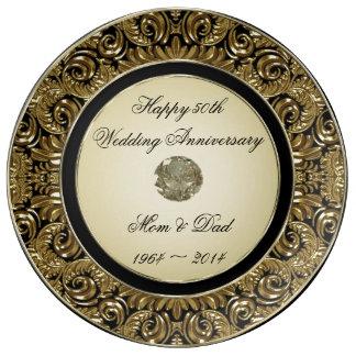 Golden Wedding Anniversary Porcelain Plate