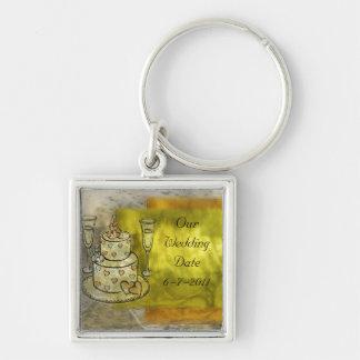 Golden Wedding Celebration Keychain