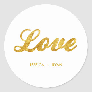 Golden wedding classic round sticker