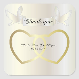 Golden Wedding Hearts Square Sticker