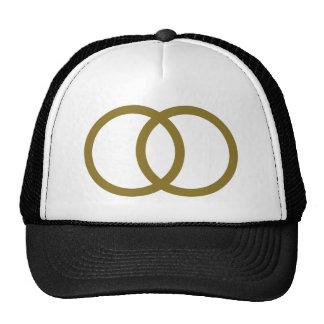 Golden wedding rings mesh hats