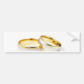 Golden Wedding Rings On White Background Bumper Stickers