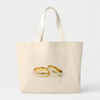 Golden Wedding Rings On White Background Large Tote Bag