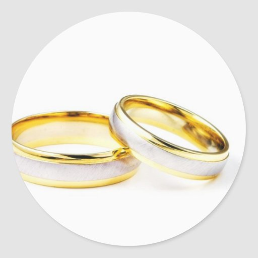 Golden Wedding Rings On White Background Stickers