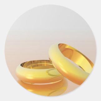 Golden Wedding Rings Round Sticker