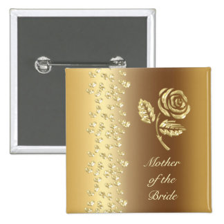 Golden Wedding rose and hearts name 15 Cm Square Badge