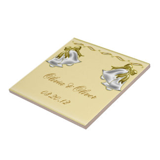 Golden Wedding Small Square Tile