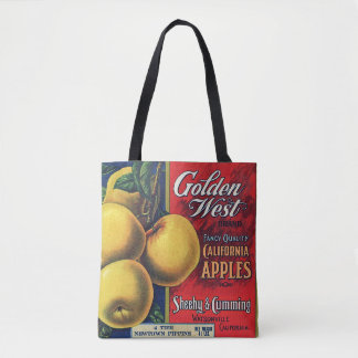 Golden West Brand California Apple Crate Label Tote Bag