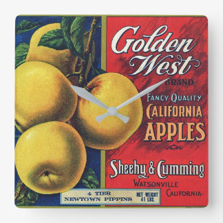 Golden West California Apple Crate Label Square Wall Clock