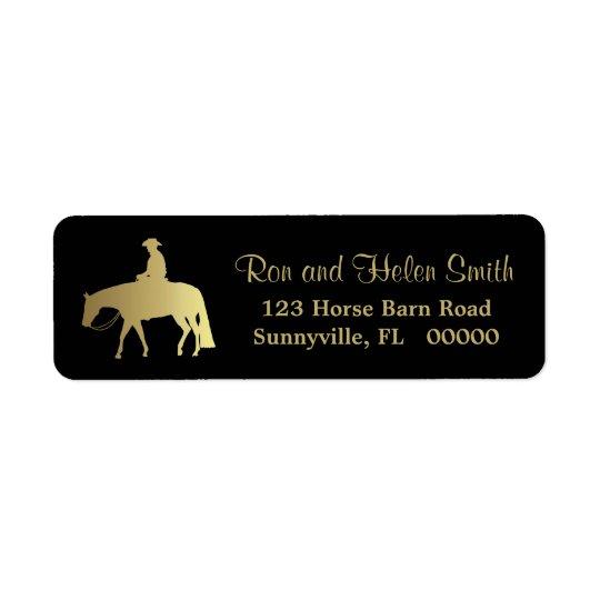 Golden Western Pleasure Horse on Black Return Address Label