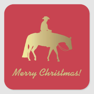 Golden Western Pleasure Horse Red Christmas Square Sticker