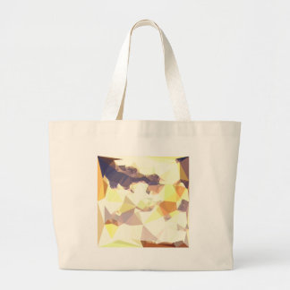 Golden Wheat Abstract Low Polygon Background Large Tote Bag