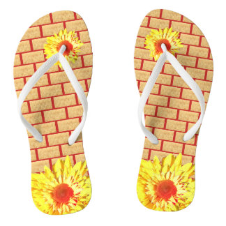 Golden Wheat Bricks on Red Accent Sunflower Thongs
