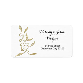 Golden - White Ornament Business Adress Label Address Label