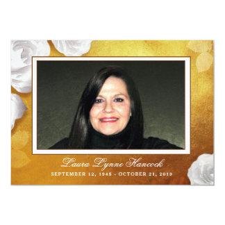 Golden White Rose Photo Memorial Service Invite