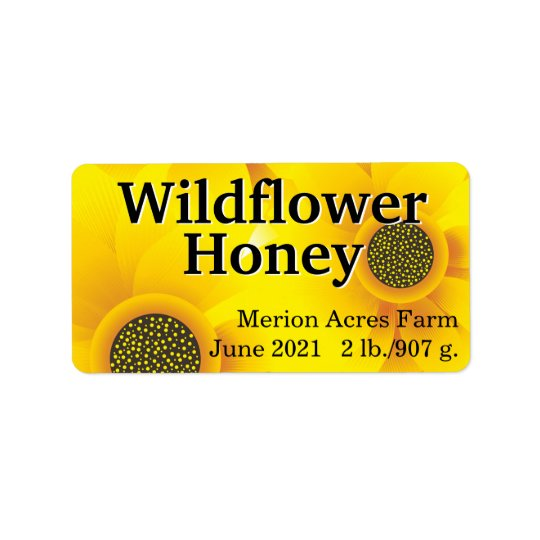 Golden Wildflower Honey Jar Label
