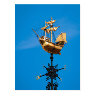 Golden wind vane postcard