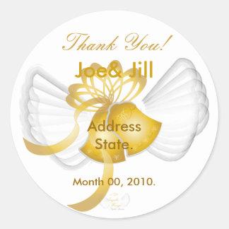 Golden Winged Bells Sticker-Cust. Round Sticker