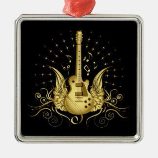 Golden Winged Guitar Metal Ornament