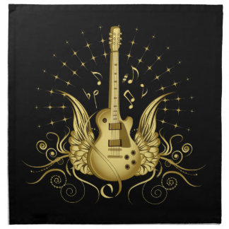 Golden Winged Guitar Napkin