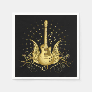 Golden Winged Guitar Paper Napkins