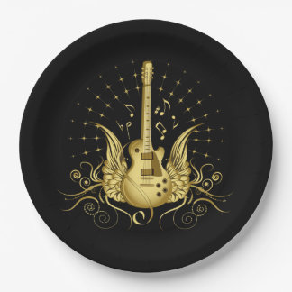 Golden Winged Guitar Paper Plate
