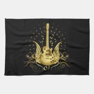 Golden Winged Guitar Tea Towel