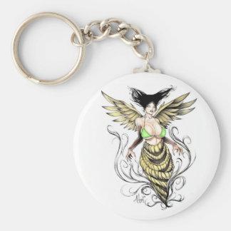 Golden Winged Harpie Basic Round Button Key Ring