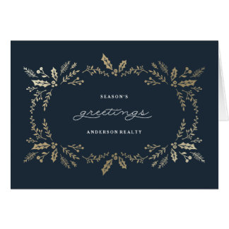 Golden Winter Corporate Holiday Greeting Card
