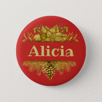 Golden Winter Theme Nameplate 6 Cm Round Badge