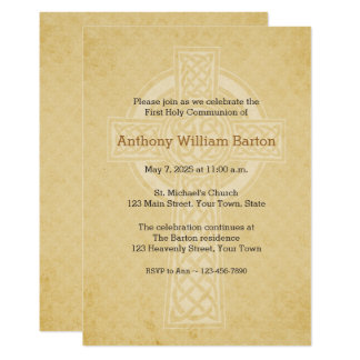 Golden with Cross Religious Invitation