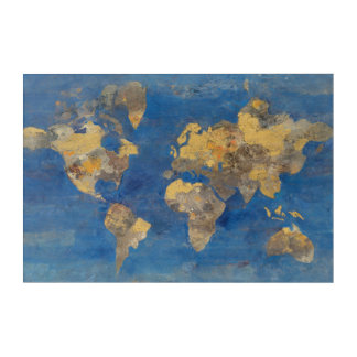 Golden World Acrylic Wall Art