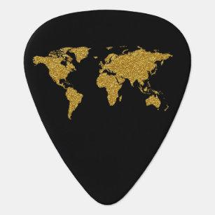 golden world map on black, personalised plectrum