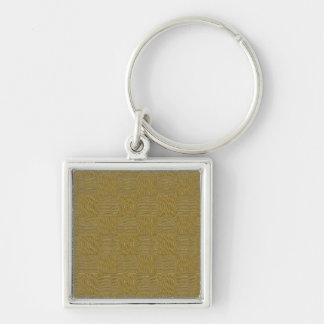 Golden  Woven Texture Background Silver-Colored Square Key Ring