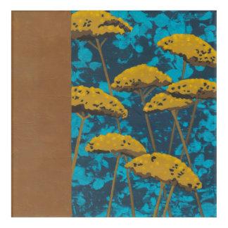 Golden Yarrow Garden with Blue Background Acrylic Wall Art