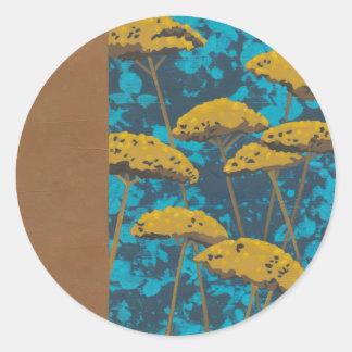Golden Yarrow Garden with Blue Background Round Sticker