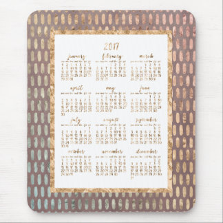 Golden Yearly Calendar 2017 Mouse Pads Rose