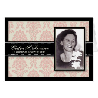 Golden Years Damask Birthday CARD Invite (pink)