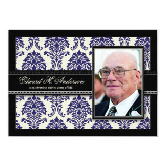 Golden Years Damask Birthday Party Invite (navy)