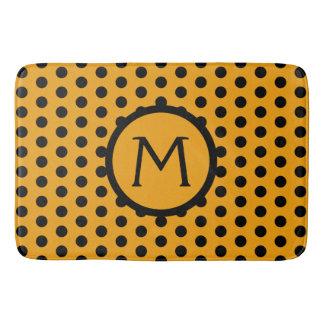 Golden Yellow and Black Polka Dot Monogram Bath Mat