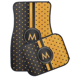 Golden Yellow and Black Polka Dots Car Mat