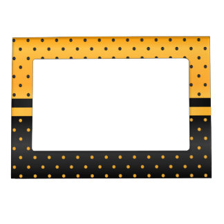 Golden Yellow and Black Polka Dots Magnetic Picture Frame
