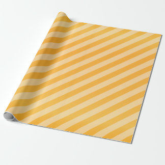Golden Yellow and Diagonal Stripes Wrapping Paper