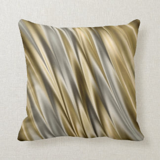 Golden yellow and silver grey satin style stripes cushion